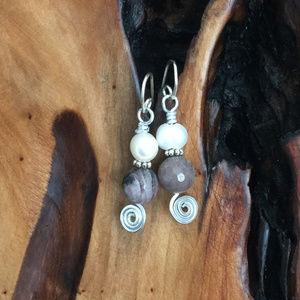 Handmade Aluminum Gemstone Pearl Earrings
